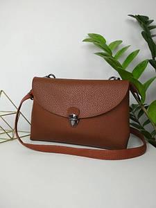 Женская коричневая сумка с двумя отделениями и плечевым ремнем 17*24*9 см
