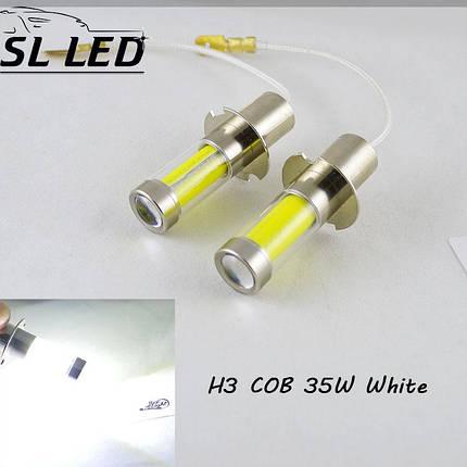 Светодиодная лампа в ПТФ, SLP LED под цоколь H3 светодиоды типа COB 35W 9-30 В. Белый, фото 2