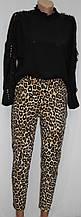 Костюм брючный женский, черная блуза и леопардовые брюки, Турция