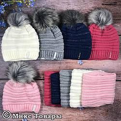Вязанная шапка полностью на флисе и баф для девочки Размер: 50- 54 см (UA25225)