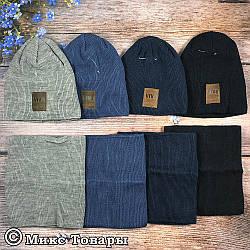 Вязанная шапка на флисе и баф Размер: 52- 56 см (UA25226)