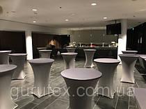 Стрейч чехлы с плотным верхом цвета Графит из премиум стрейч ткани.  На стол раскладывающийся диаметром 80см высота 110см. Комбинированный цвет с переливом.