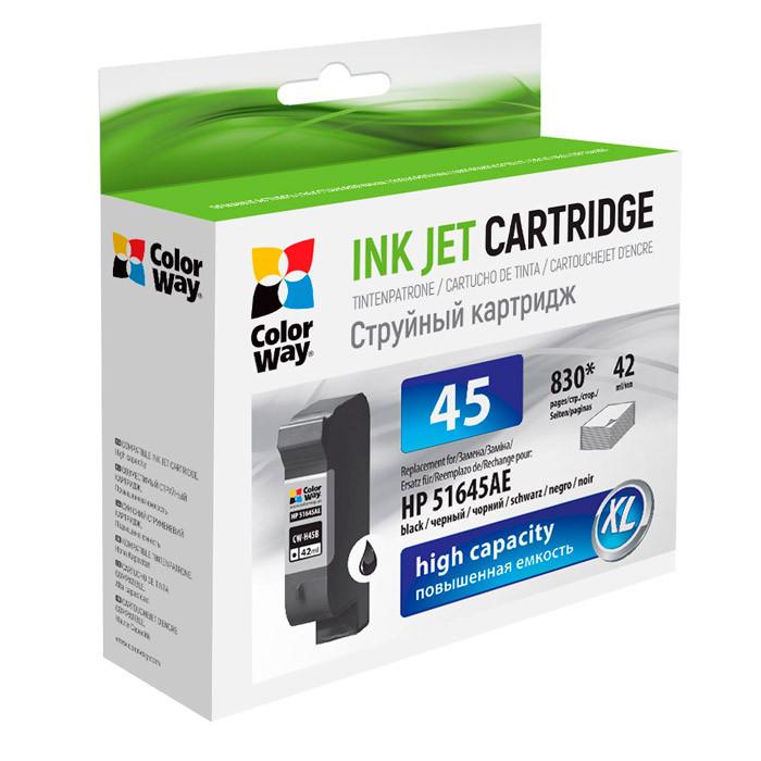 Картридж HP №45 (C51645A), Black, DJ 850C/1600C, 50 ml, ColorWay (CW-H45B)
