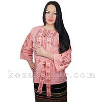 Традиційна жіноча вишиванка персикова, фото 1