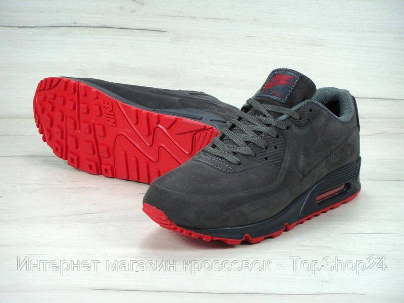 """Зимние кроссовки на меху Nike Air Max 90VT """"Grey"""" (Серые) (реплика А+++ )"""