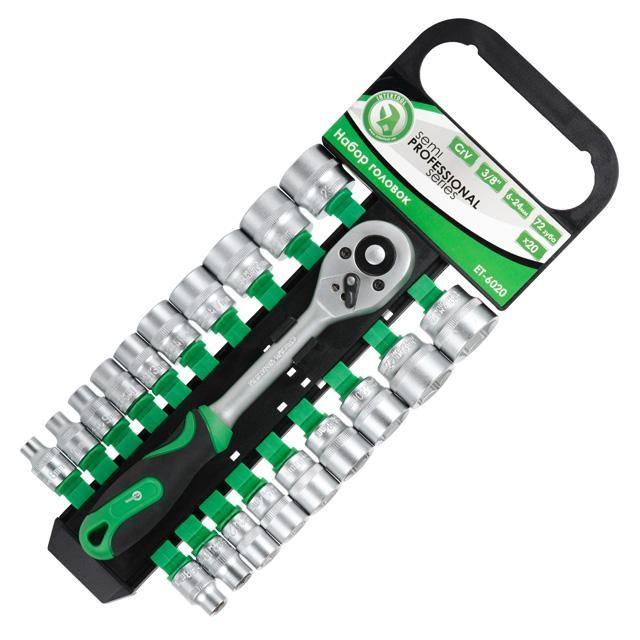"""Набір головок 20 од. 3/8"""" 6-24 мм з ручкою з храповим механізмом 72 зуба, Хром-Ванадиум INTERTOOL ET-6020"""
