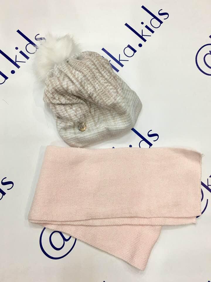 Набор для девочки шапка+шарф размеры 48-54