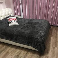 Меховое покрывало на кровать, 220х240, серый