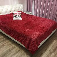 Плед покрывало на 2 спальную кровать мех травка (220х240), бордовый