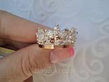 Серебряное кольцо Корона 2 с накладкой золота, фото 4