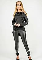 Женская туника комбинированная гипюром черный, 44