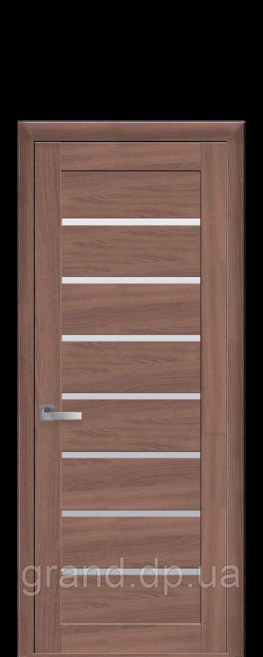 Межкомнатная дверь Леона Экошпон с матовым стеклом, цвет ольха 3D