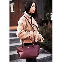 Женская кожаная сумка Midi бордовая, фото 1