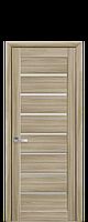 Дверь Леона Новый стиль экошпон с матовым стеклом, цвет сандал