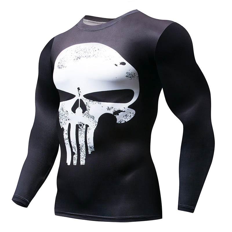 e98f51067ace2 Мужская футболка для фитнеса и бодибилдинга с длинным рукавом Череп  (Каратель) (рашгард rashgard