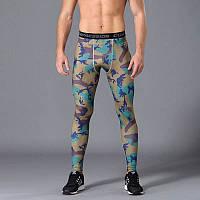 Мужские лосины для бодибилдинга, MMA, единоборств, сине-коричневый камуфляж