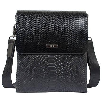 63f9056fd34d Мужская кожаная сумка HT 3345-5 черная (24,5х20,5х6 см) с имитацией ...