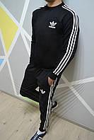 Утепленный спортивный костюм Адидас Adidas черный с лампасами (РЕПЛИКА)