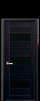 Дверь Лилу Новый стиль экошпон с черным стеклом , цвет венге brown