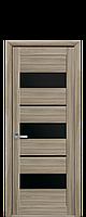 Дверь Лилу Новый стиль экошпон с черным стеклом, цвет сандал