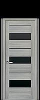 Двері Лілу Новий стиль екошпон з чорним склом, колір ясен патина