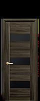 Межкомнатная дверь Лилу Экошпон со черным стеклом сатин, цвет кедр