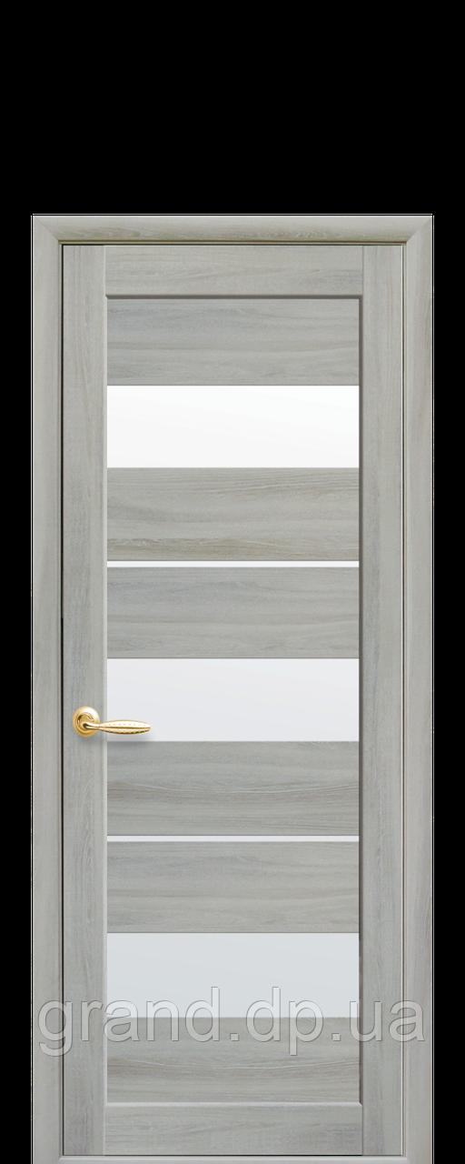 Дверь Лилу Новый стиль экошпон со стеклом сатин, цвет ясень патина