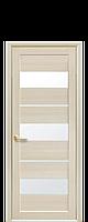 Дверь Лилу Новый стиль экошпон со стеклом сатин, цвет дуб жемчужный
