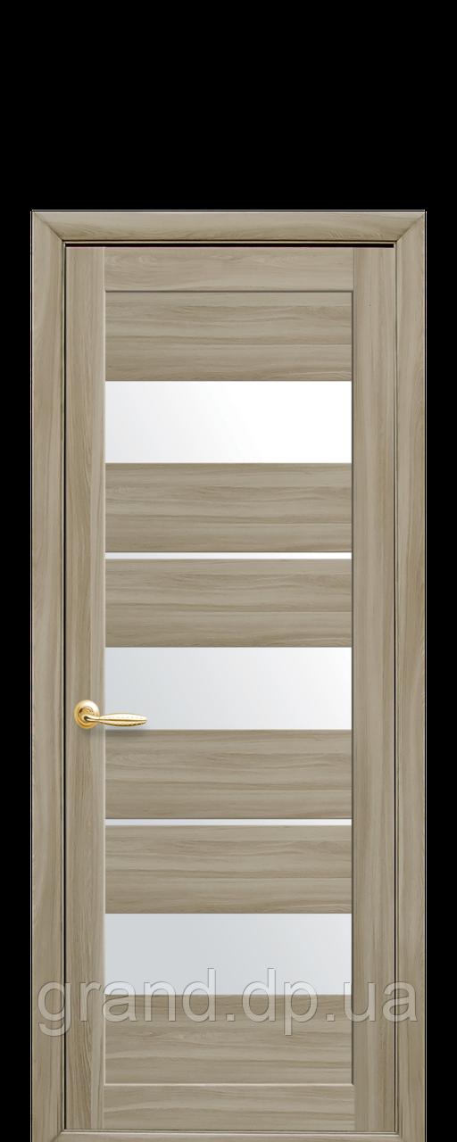 Дверь Лилу Новый стиль экошпон со стеклом сатин, цвет сандал