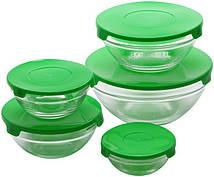 """Набор 10 стеклянных мисок Renberg """"LeJardin Comfort"""" с зелеными крышками"""