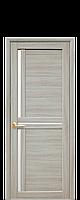 Межкомнатная дверь Тритини Экошпон со стеклом сатин, цвет ясень патина