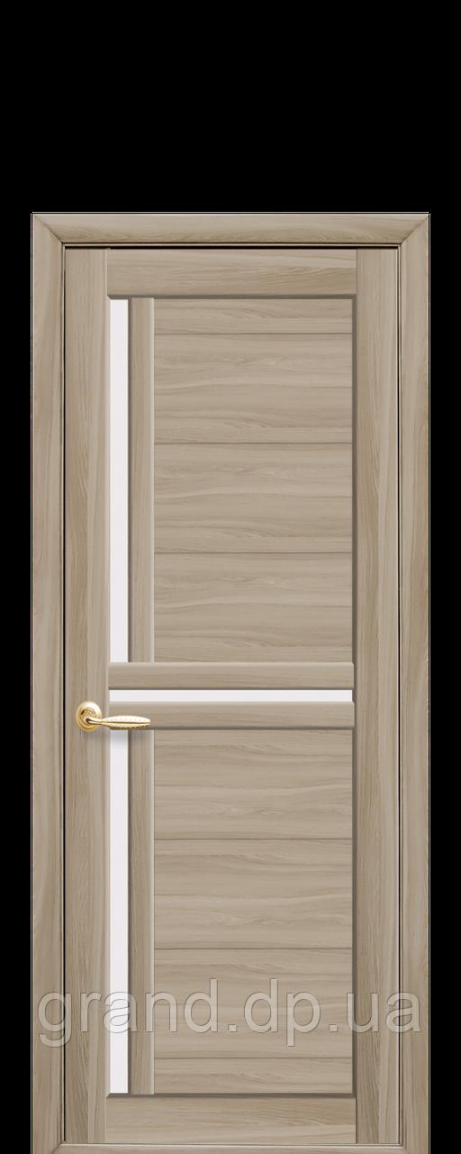 Дверь Тритини новый стиль экошпон со стеклом сатин, цвет сандал