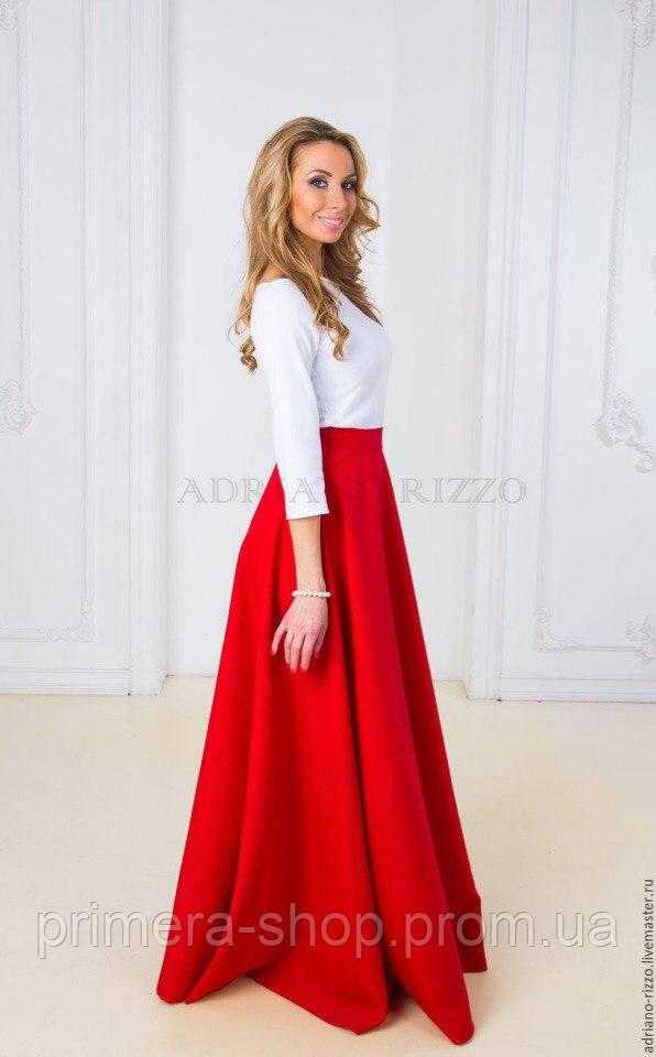 97e534a30a6 Красная пышная юбка макси