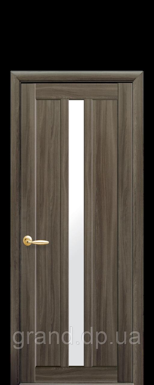 Межкомнатная дверь Марти Экошпон со стеклом сатин, цвет кедр