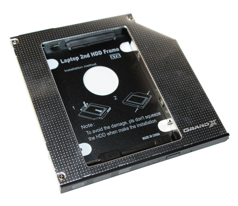 "Шасси Grand-X (HDC-24N) для установки жесткого диска 2.5"" или SSD (SATA/mSATA)в отсек оптического привода ноутбука Slim (9)"