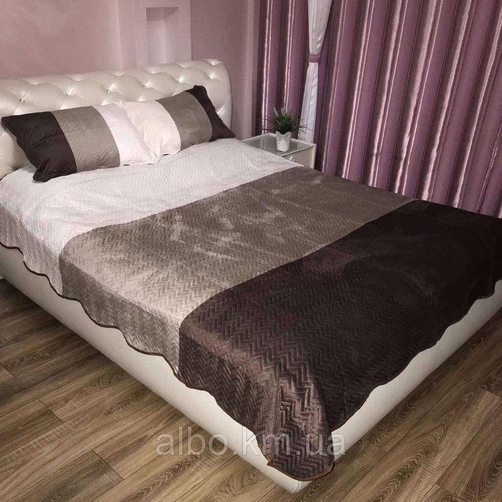 Стьобане велюровое покривало на ліжко диван, покривало євро на ліжко диван, покривало велюровое на ліжко диван, гарне покривало