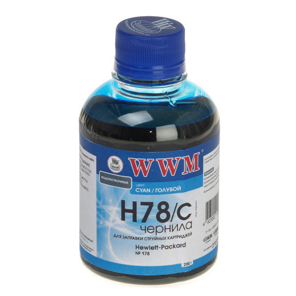 Чернила WWM HP 178, Cyan, 200 г (H78/C)