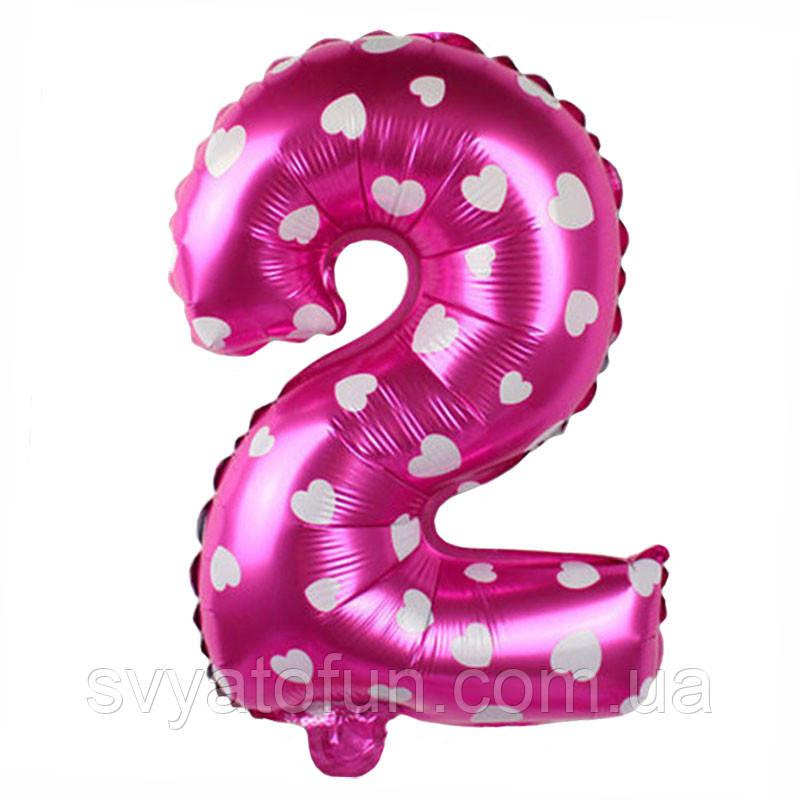 Фольгированный шар-цифра 2 розовая в сердечки Китай