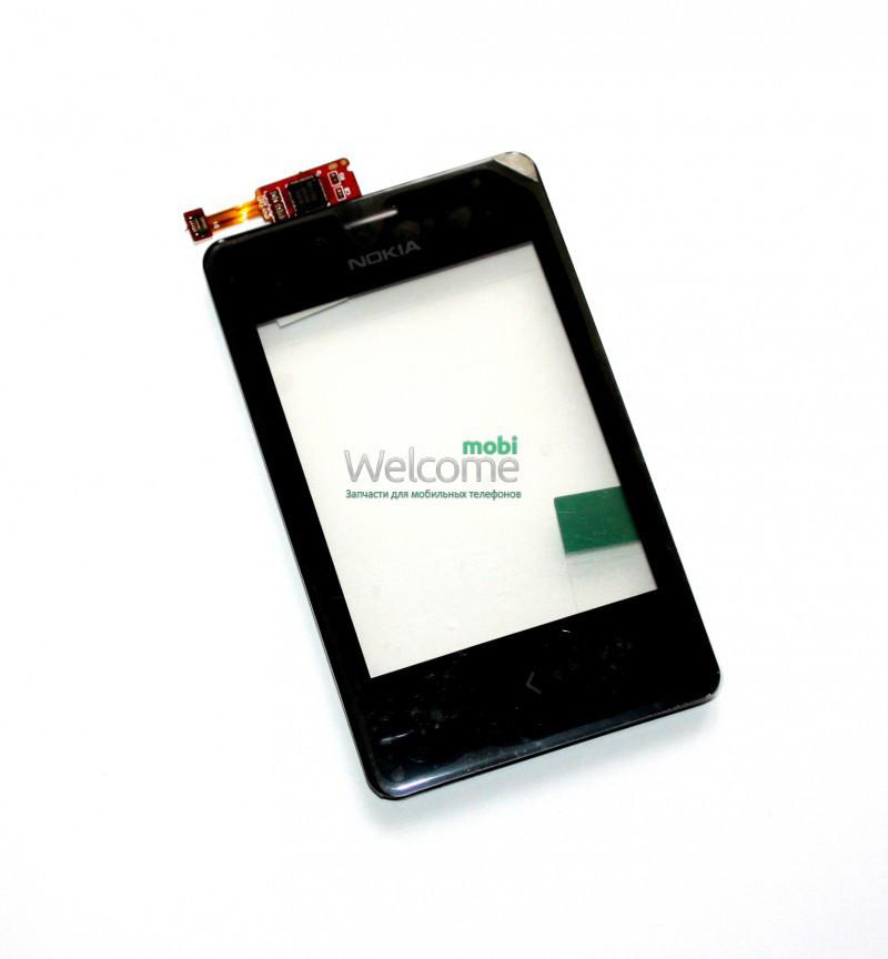 Сенсор Nokia 502 Asha Dual Sim black с рамкой , тач скрин для телефона смартфона