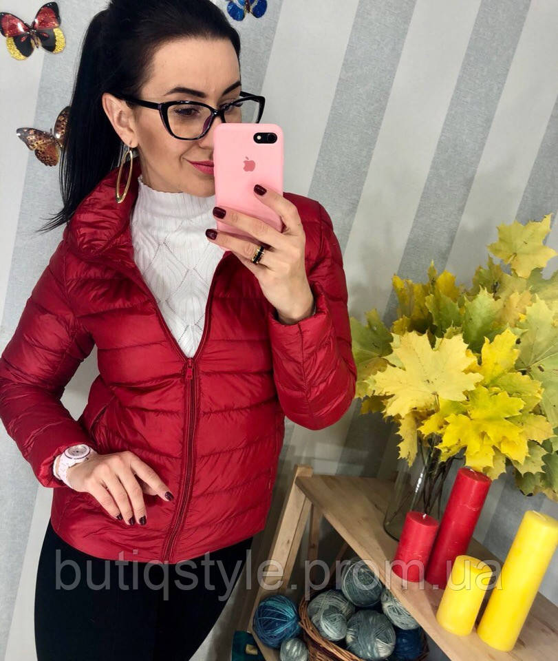 Женская куртка на молнии плащевка наа пуху деми красная, черная, розовая, молоко