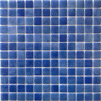 Голубая мозаика на сетке Glass Mosaik HVZ-138
