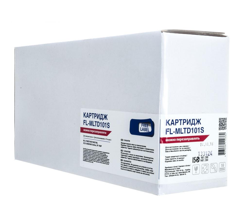 Картридж Samsung MLT-D101S, Black, ML-2160/2165/2168, SCX-3400/3405, SF-760P, 1,5k, Free Label (FL-MLTD101S)