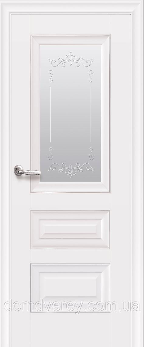Двери межкомнатные Новый Стиль, Элегант, модель Статус,со стеклом сатин с молдингом с рисунком Р2