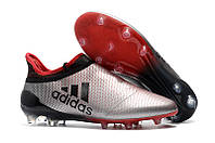 Футбольные бутсы adidas X 17+ Purechaos FG Clear Grey/Core Black/Shock Pink, фото 1