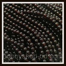 Намистини куля 6 мм колір натуральний гранат (140-145 шт в нитці)