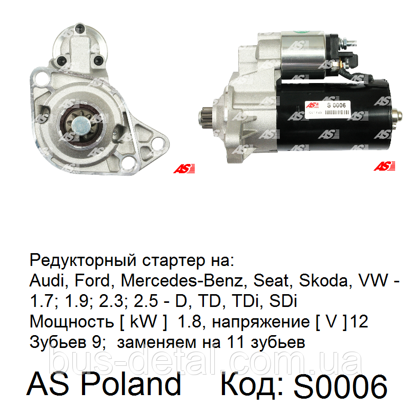 Стартер для Ford Galaxy 2.3/2.8 i (Форд Галакси). Редукторный. AS-PL.  Bosch 0001125005