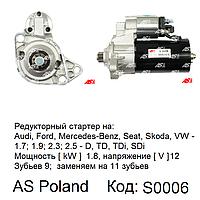 Стартер для Ford Galaxy 2.3/2.8 i (Форд Галакси). Редукторный. AS-PL.  Bosch 0001125005, фото 1