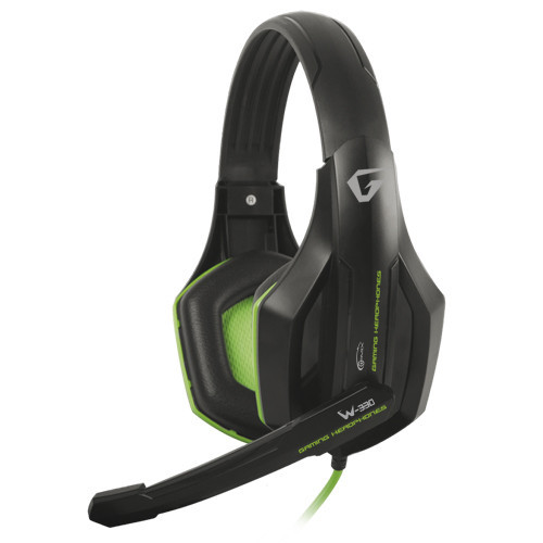 Наушники Gemix W-330 Gaming Black/Green, 2 x Mini jack (3.5 мм), накладные, регулятор громкости, кабель 2.4 м