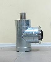 Тройник 45°/87° из нержавеющей стали 0,8 мм с оцинковкой