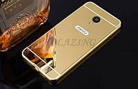 Чехол зеркальный, рамка алюминий, зеркало акрил   для  Meizu M3 Note (золотой)